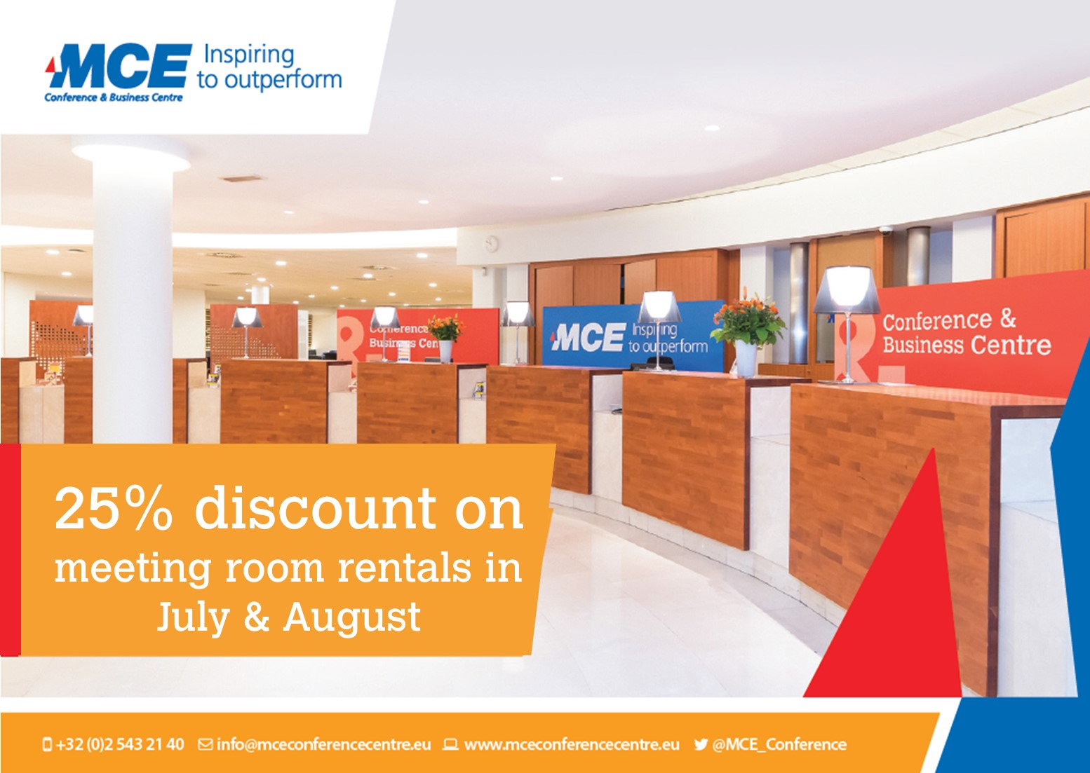 25% Discount on Meeting Room Rental in July and August 2018